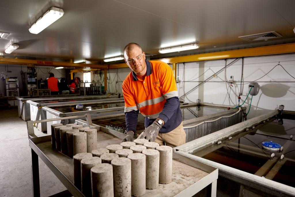 Materials engineer at work
