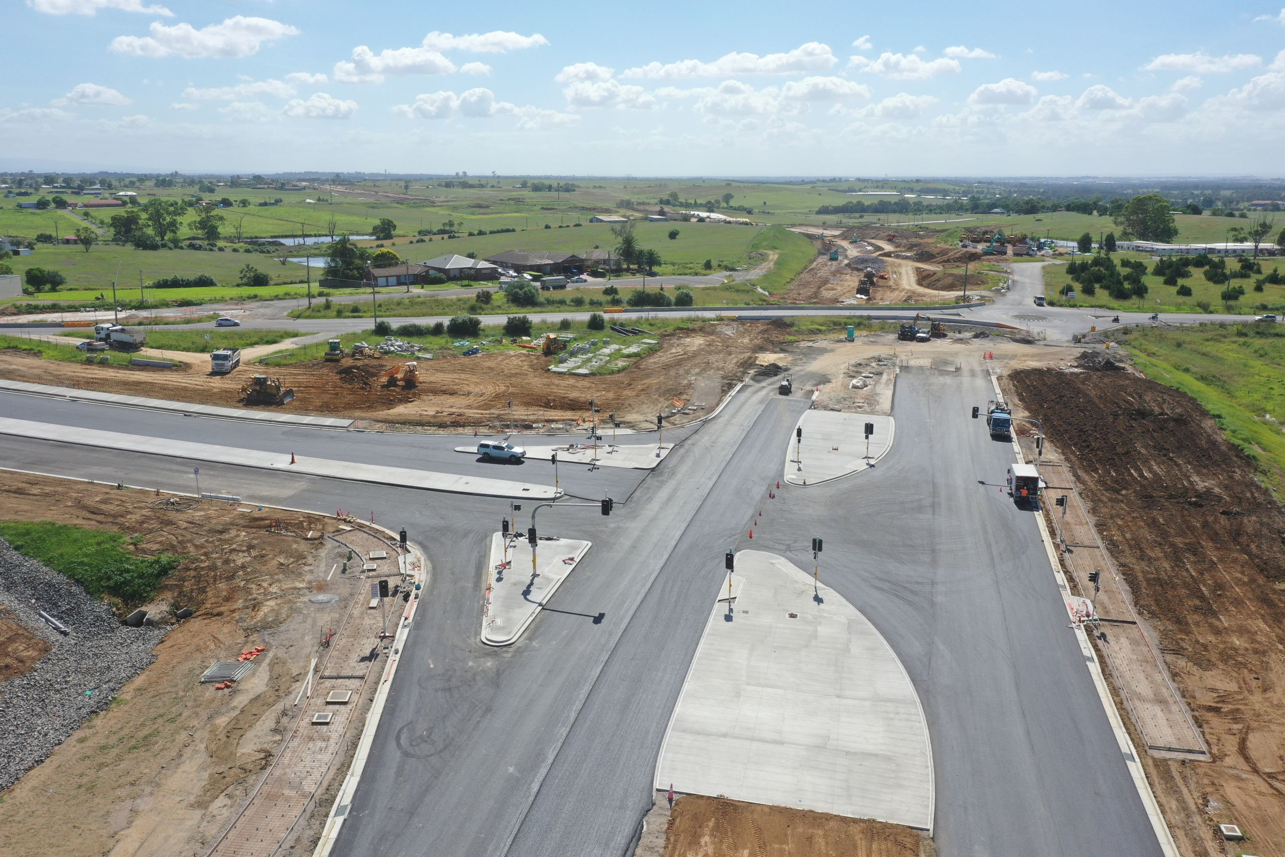 earthmoving for road aerial photo
