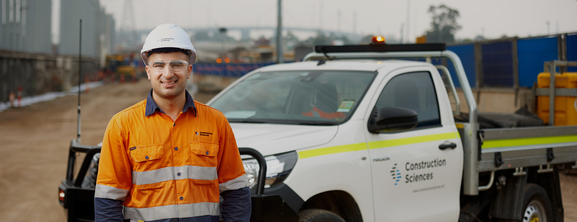 man with ute and hard hat