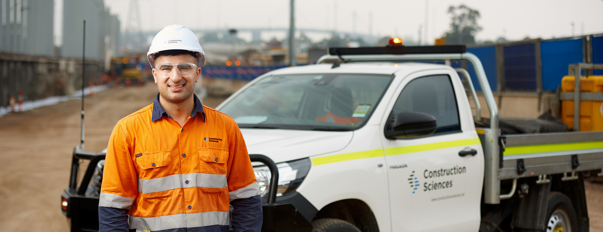man with ute at industrial site
